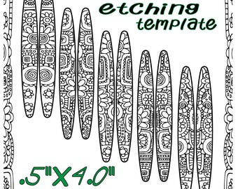 Pattern for Etching Floral Hoop Earrings or Cigar Band Rings DT-SS-9970-5