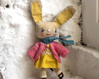 Cloth Easter Bunny, primitive, cloth doll, collectible