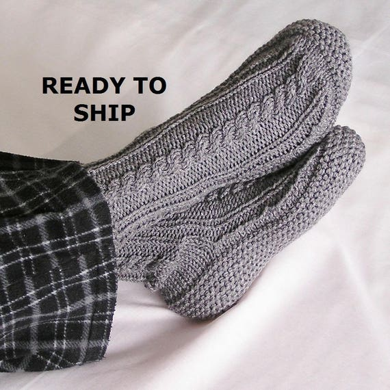 Mens Slippers, Medium Gray High Cuff, Choice of Sizes, Handknitted Bedsocks, Size 8.5 - 9.5 OR Size 10 - 11