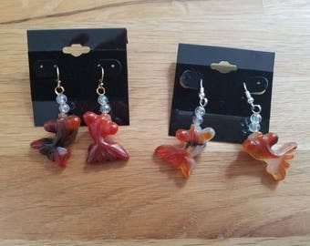 Carved Agate Goldfish Koi Fish Blowing Bubbles - earrings on sterling silver wires