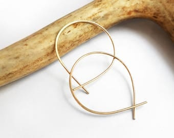 Mini Perfect Hoops in Gold - Small Minimalist Everyday Lightweight Hoop Earrings Handmade by Queens Metal