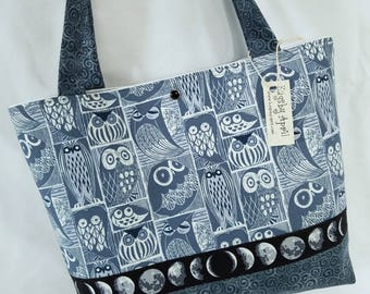 Owls and Moon Phases fabric handbag purse tote bag birds feathers