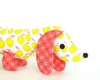 Baby Girl Gift, Wiener Dog Softie,  Plush Dachshund,  Baby Toy, Stuffed Wiener Dog LEMON