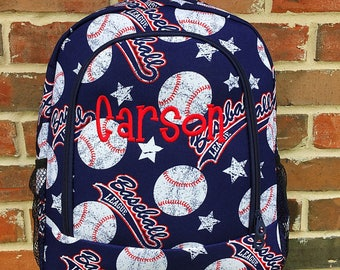 Personalized Backpack - Baseball Backpack - Large Backpack - Backpack Diaper Bag -  Monogrammed Backpack - Embroidered Backpack Boy Backpack