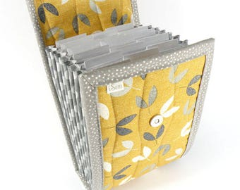 Circular Needle Case - Gold with Grey Leaves - Needle Holder Needle Wallet Circular Needle Organizer Organiser Yellow Gray