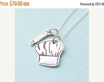 ON SALE Chef HAT and Rolling Pin silver pendant - bakers jewelry - handmade in sterling silver by Chocolate and Steel