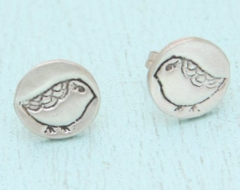 ON SALE LADY Bird stud earrings, eco-friendly silver.  Handcrafted by artisan Chocolate and Steel.