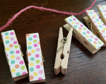 Mini Confetti Bright Party Polka Dots Clips w Pink Twine, Pic Display, Chunky Little Clothespins, Set of 12 Baby Shower Birthday Clothesline