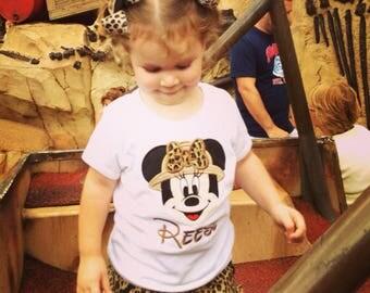 Safari Minnie Personalized Applique Tshirt Vacation Tee