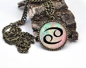 Zodiac Jewelry, Zodiac Necklace, Gemini Necklace, Astrology Jewelry, Cancer Zodiac Sign, Zodiac Pendant, Birthday Jewelry, Zodiac Gift,