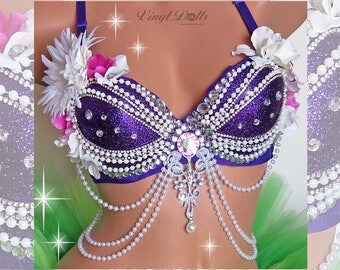 Purple Ariel Mermaid Sea Shell Goddess Mermaid Rave Bra, Purple White Princess Mermaid, Sea Siren SeaShell Bra, Custom rave top