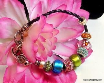 Slide Bracelet with Nine Slides Vintage Bracelet Leather Cord Bracelet 1990 Bead Bracelet Free Shipping in USA