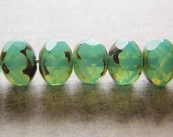 Aqua Opal Beads Picasso Finish on the Ends 8x6mm Glass Rondelle 10 Beads