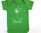 ON SALE ON Sale Dandelion Onesie, Short Sleeved Cotton Infant One Piece, Romper, Gift for Baby, Baby Body Suit, Hand Screen Printed, Nb-18Mo