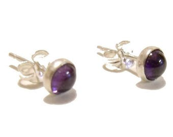 Purple amethyst sterling silver post earrings, round gemstone earrings, cabochon earrings