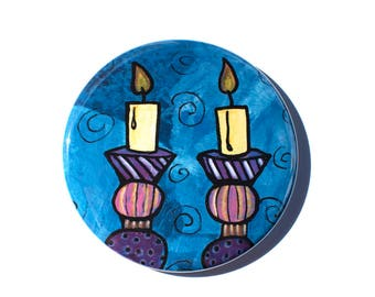 Shabbos Candle Magnet, Pin or Mirror - Shabbat Magnet - Jewish Pin - Judaica gift or party favor