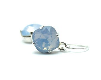 Sky Blue Opal Crystal Dangle Earrings Classic Sparkling Baby Pastel Solitaire Swarovski 12mm 10mm Drop Sterling Silver Gold Women's Jewelry