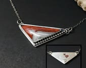 Crazy Lace Agate Necklace, Heart Necklace,  Red Stone Necklace, Sterling Silver Artisan Triangle Bib Necklace, Silversmith Bar Necklace