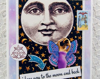 "Magic Greeting Card comes w 1"" Pin Back Button-Full Moon Card-Fairy Card-Mystical Card-Magical-Moon Magic-I Love You To the Moon and Back"