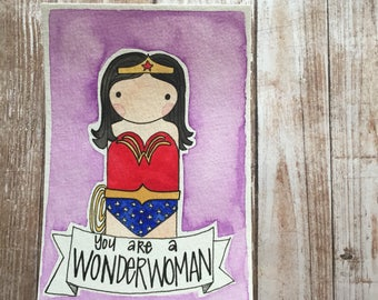 PegBuddies Postcard- Wonder Woman, encouragement postcard