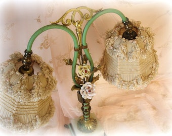 antique double arm boudoir lamp brass enamel marble china flowers incredibly sWeet lace shades lamp is solid needs rewired shades are shabby