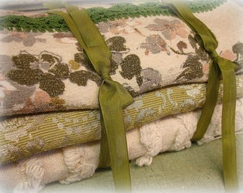 vintage decorator fabric pack coordinating shades of olive blush and ivory fabric and table topper with hand crocheted edging boho tufted