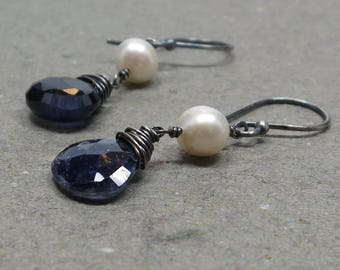 Violet Blue Iolite Earrings White Pearls Oxidized Sterling Silver Earrings Gift for Her