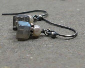 Labradorite Earrings Geometric Jewelry Petite White Pearl Minimalist Gemstone Cube Oxidized Sterling Silver Earrings Gift for Her