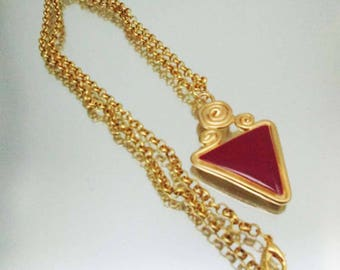 Vintage Red Enamel Gold Tone Necklace