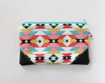 Western zipper pouch, cash envelope, Eyeglass case, Pen pencil, cash wallet, Cosmetic makeup bag, sunglasses, purse organizer, aztec arizona