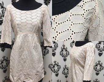 CREAM EYELET BABYDOLL 1990'S Dress Sz S