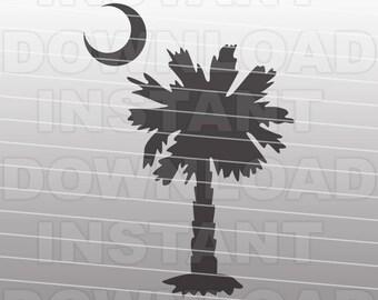 Palmetto SVG File,Palmetto Moon SVG File,Carolina Palmetto SVG File-Vector Clip Art for Commercial & Personal Use Cricut,Cameo,Silhouette
