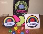 Rainbow Adventurer dice set, bag and accessories