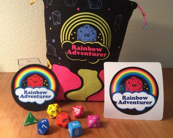 Rainbow Adventurer dice set, bag and accessories