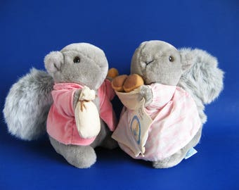 Vintage Timmy Tiptoes and his wife Goody Tiptoes by Eden Beatrix Potter Gray Squirrel with Original Paper Tag Stuffed Animal Toy 1980s Toy