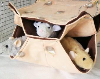 Rat Hammock,Honeycomb Hammock,Rat Accessory,pet cage hammock,Pet Hammock,Pet Cage Bedding,Rat Bedding,Small Animal Hammock,3 level Hammock
