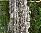 Curly Lockspun Yarn - Bulky Handspun Art Yarn - Gray Brown Cotswold Wool Yarn - Stoney Meadows