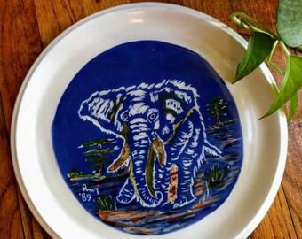 Vintage Elephant Plate || Hand Painted Elephant Decor || Blue Elephant Display