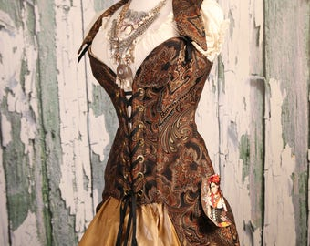 Waist 36-38 Black and Copper Paisley Peacock Tailed Courtier Corset WAS 399