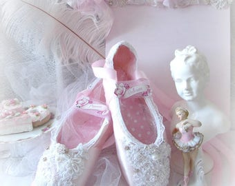 Pink En Pointe Ballet Slippers, Ballerina, Ballet Shoes, Valentine Decor, Vintage ballet shoes, cottage chic Lace Ballet Shoes