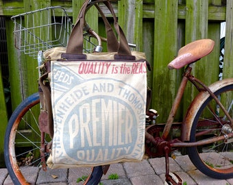 Premier Quality Feeds - Americana Vintage Seed Feed Sack Book Tote W- OOAK Canvas & Leather Tote .. Selina Vaughan