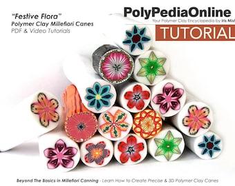 Polymer Clay Tutorial, 9 Millefiori Canes, Flower, PDF Tutorial, Polymer Clay Jewelry, Beads, DIY Handmade Bead, Craft, Fimo Tutorial, Video