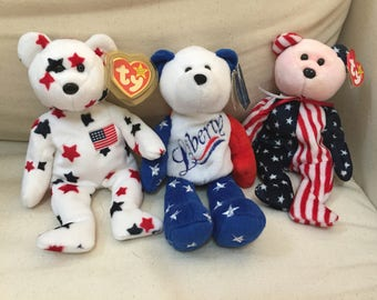 Patriotic American red white blue 4th July beanie babies