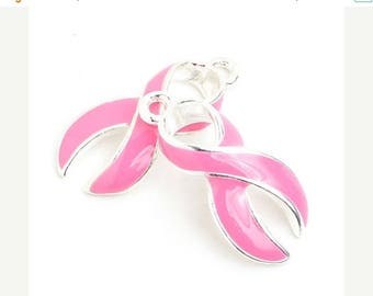 20% Off Sale 23mm Pink Curved Breast Cancer Awareness Ribbon Charm - 2 Pieces - 1570