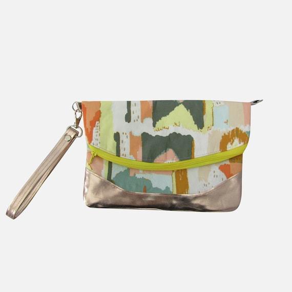 Painted Lady Rose gold Handmade Clutch crossbody purse
