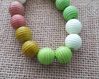 Handmade Lampwork Beads by SweetpeasGlassDesign - Lampwork Glass Beads - Springtime Ribbed Balls SRA