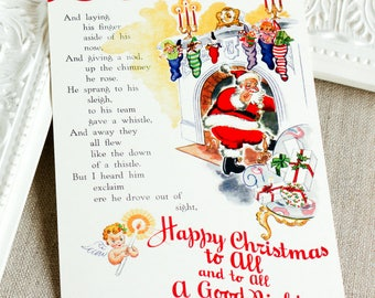 holiday post cards - Happy Christmas cards - Santa Claus postcard - Christmas postcard set - St Nick greetings - angel postcard set