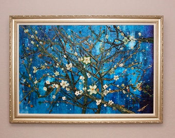 "ORIGINAL van Gogh INSPIRED Painting ""Springtime In Paris"" Textured Cherry Blossom Fine Art Gallery Frame Modern Landscape by Heather R Lange"