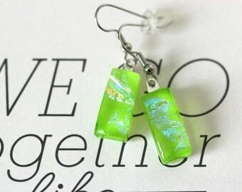Green  Dichroic Fused Glass Earring, Drop Earrings, Dangle Earrings, E0169, GetGlassy