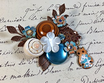 Vintage Collage Brooch pin teal flower copper owl shell wood upcycle Olivia